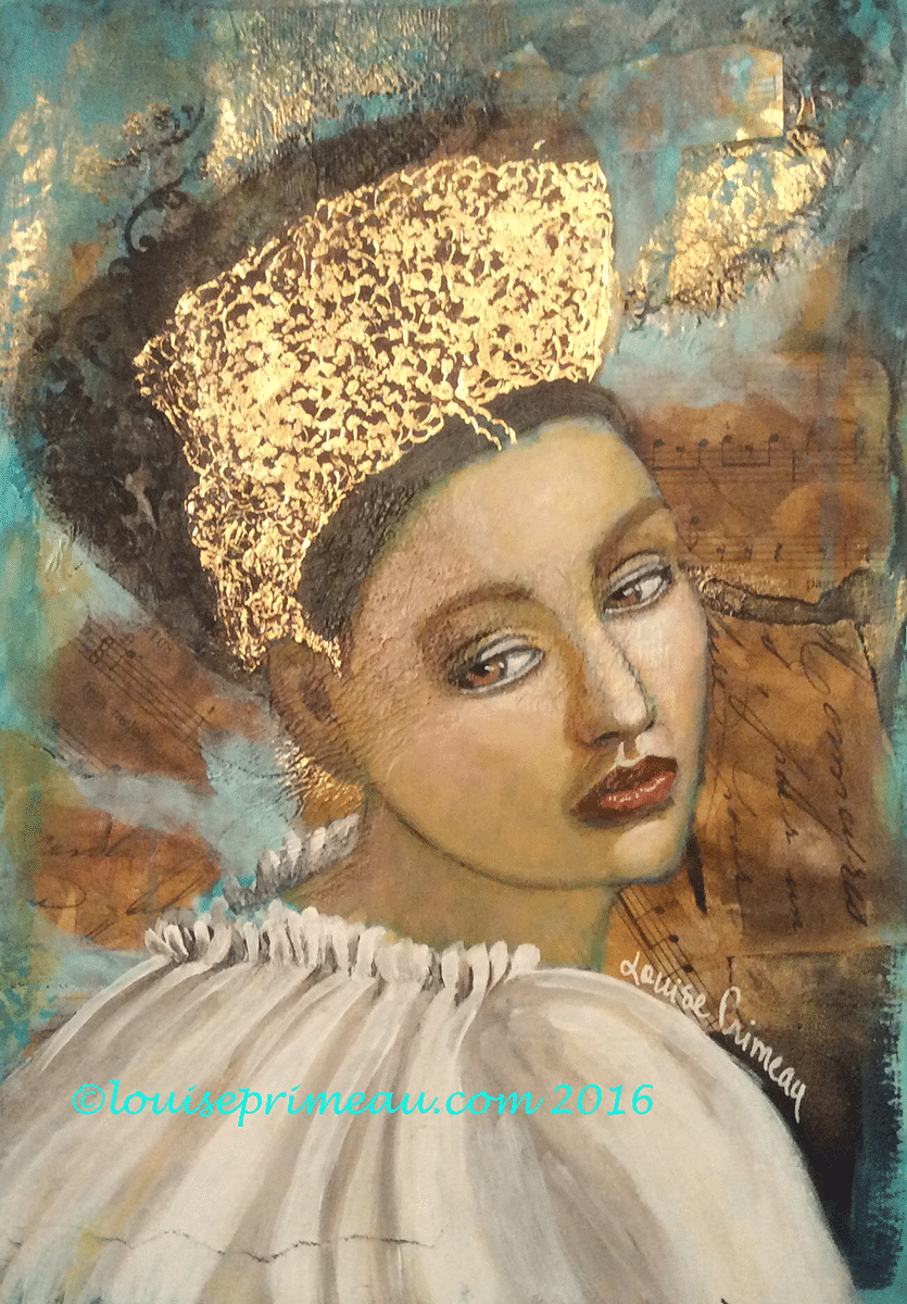 mixed media princess with gold crown