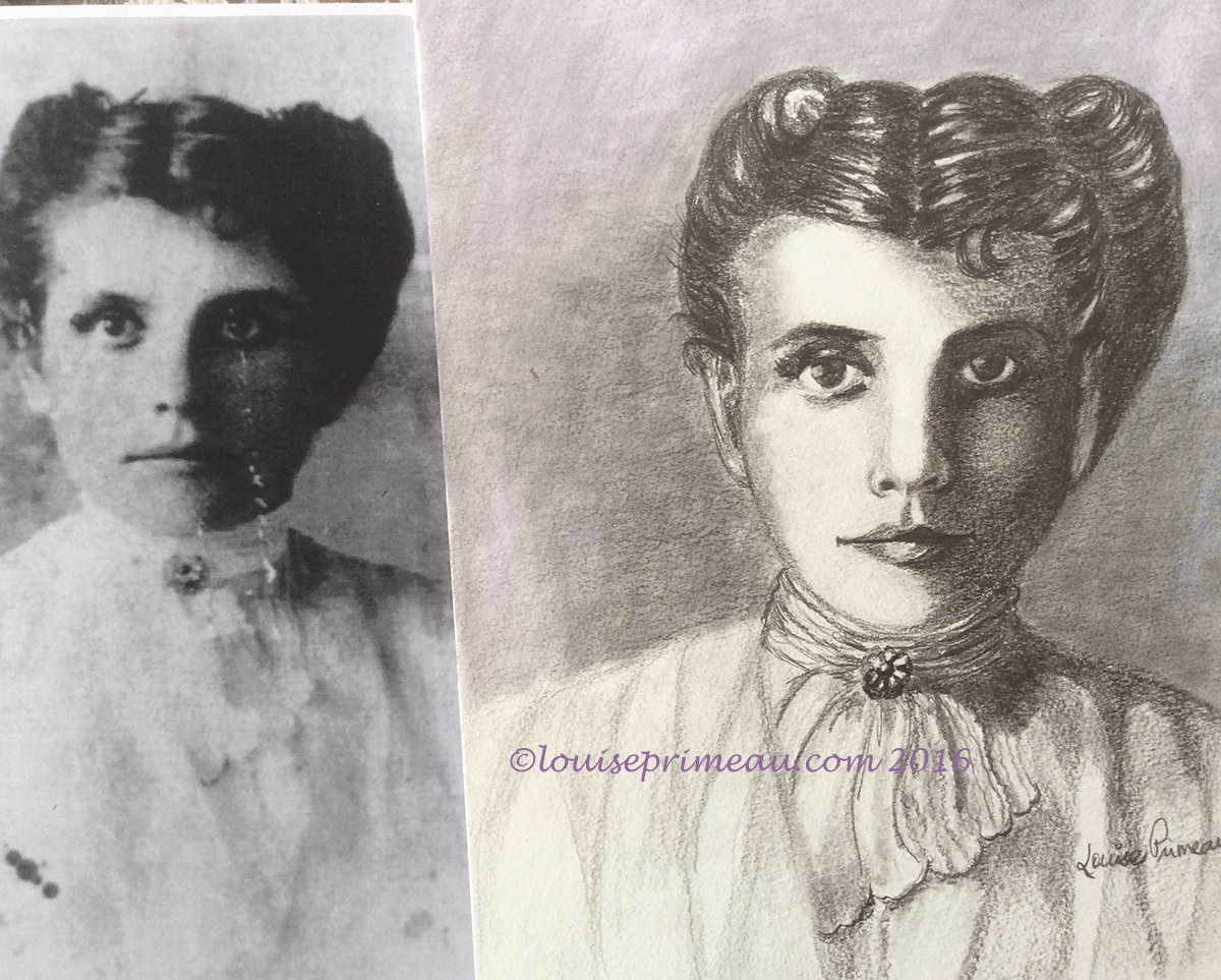 graphite and pastel vintage portrait