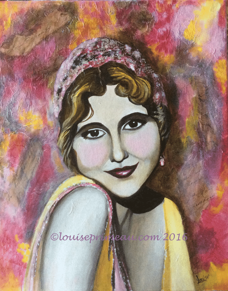 mixed media portrait of 1920's flapper