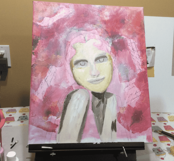 early stages of mixed media portrait