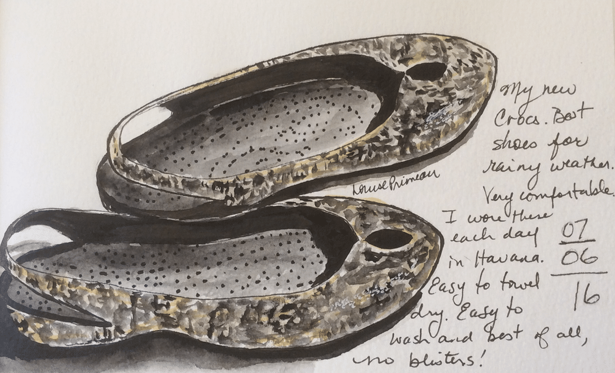 Crocs are convenient - watercolour and ink sketch in journal