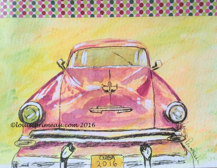 travel sketch vintage car