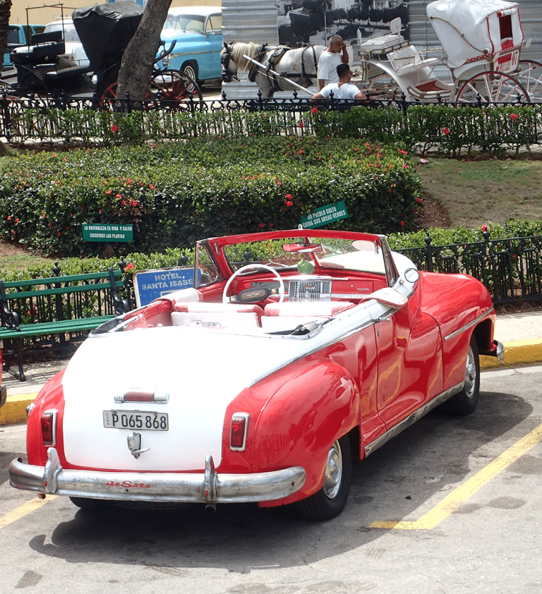 Red and White De Soto in Cuba
