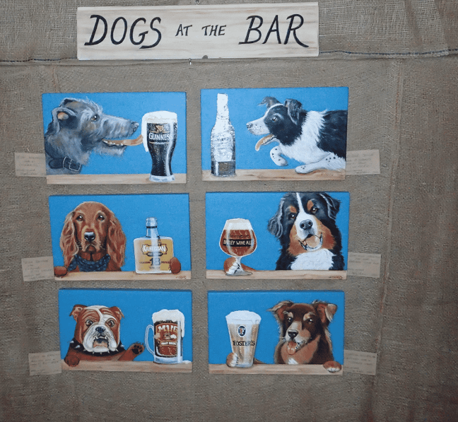 Dogs at the Bar series by Peggy Orders at Art in the Barn 2016
