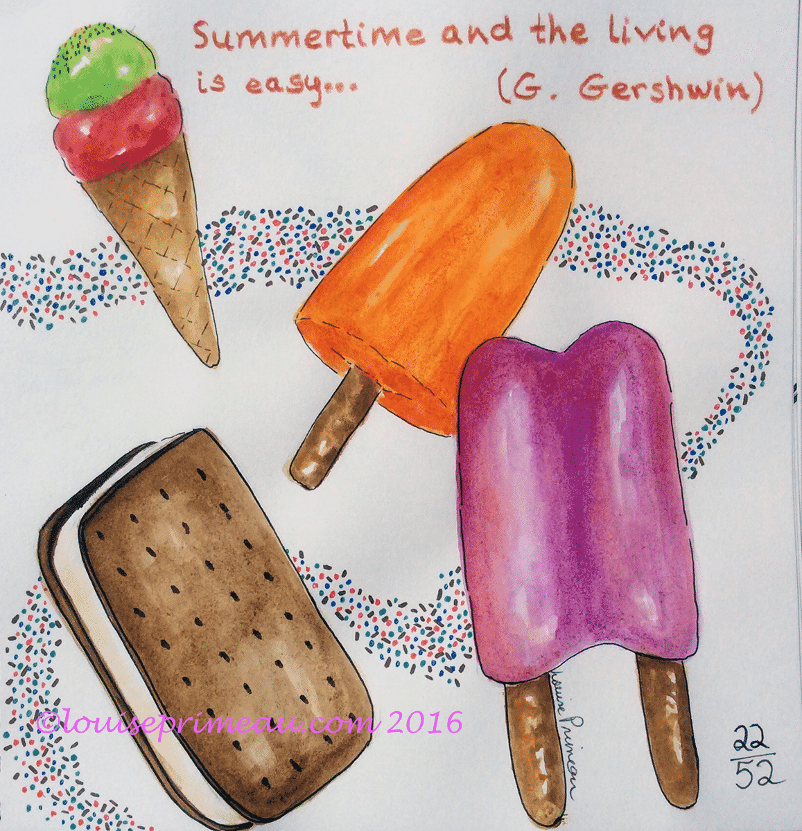 journal entry for summertime - watercolour and ink