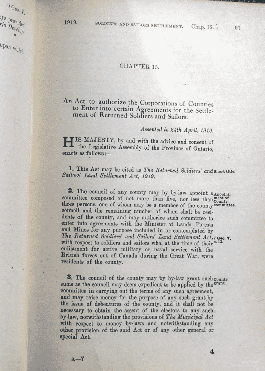 soldiers and sailors settlement in Ontario Statutes 1919