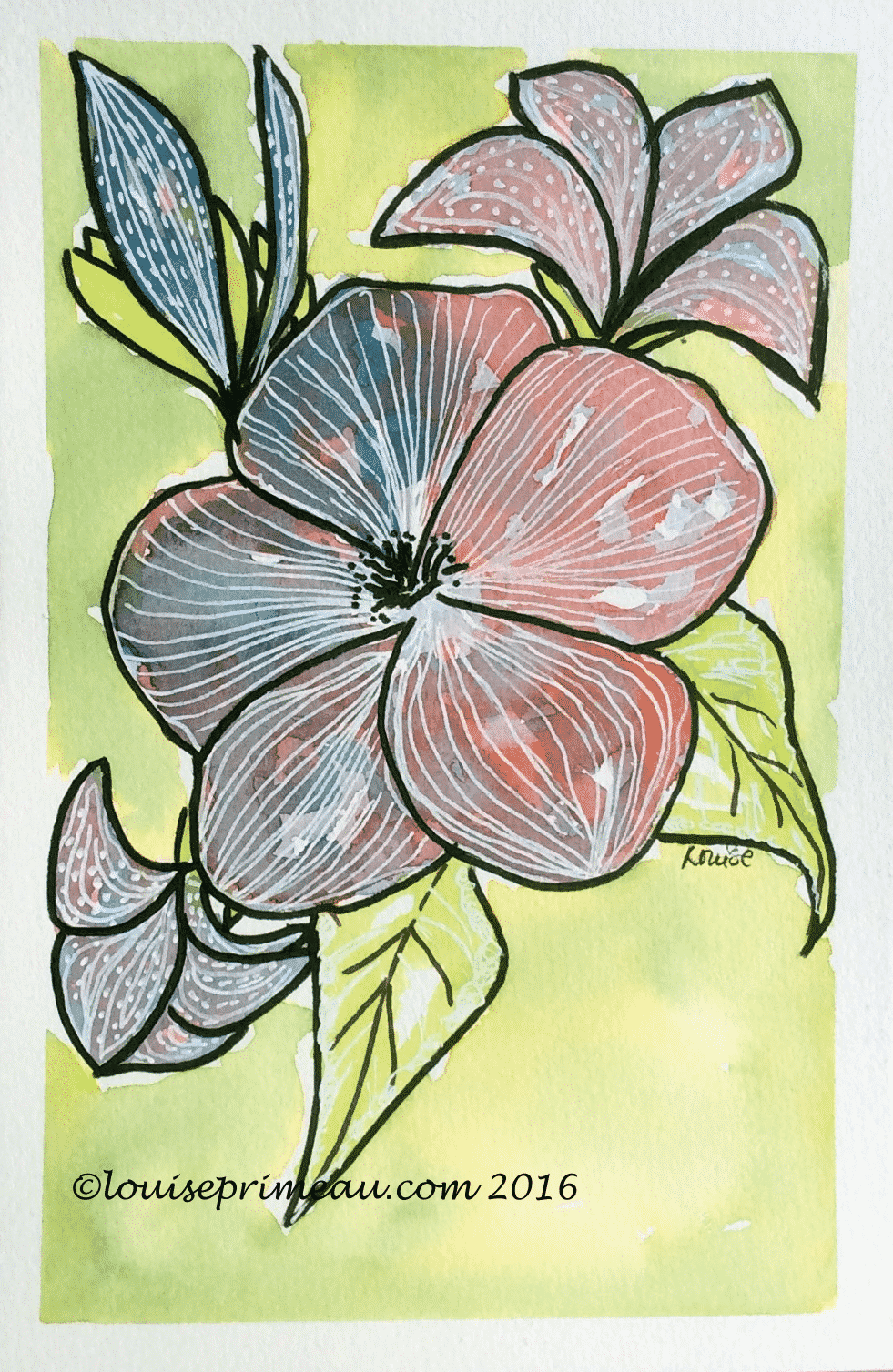 watercolour and ink flower doodle