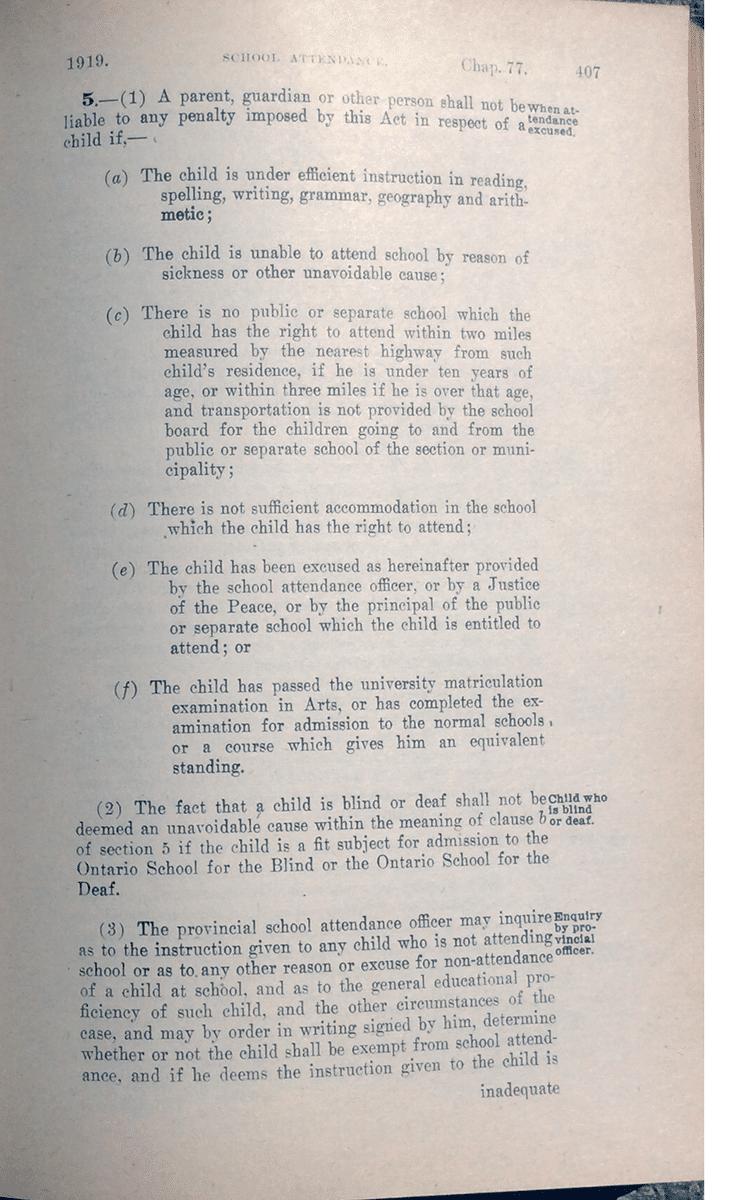 school attendance statutes in Ontario 1919