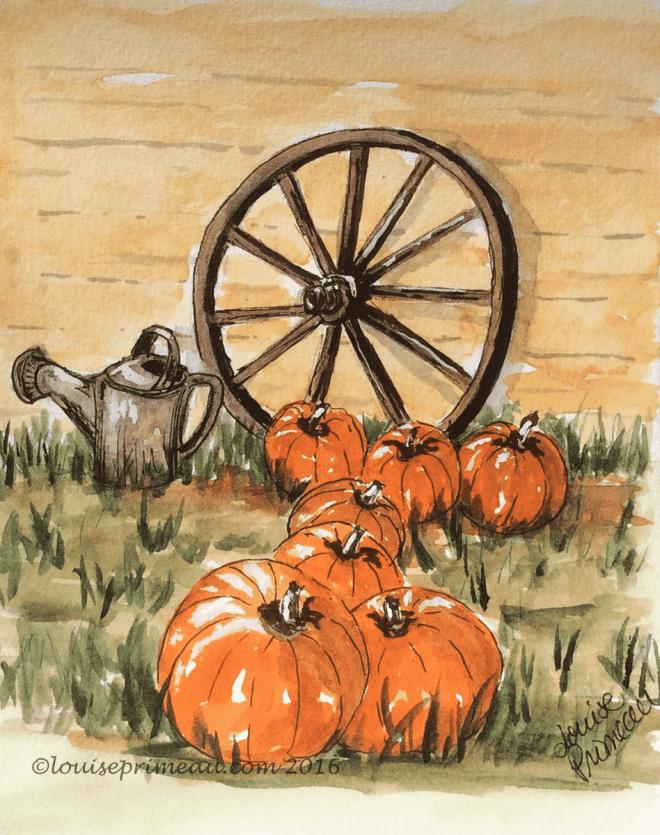watercolour vignette of pumpkins