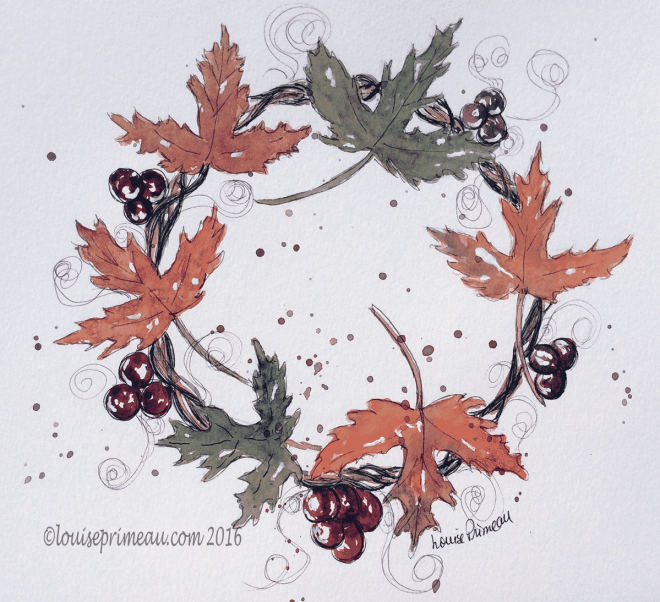watercolour wreath of fall leaves and berries