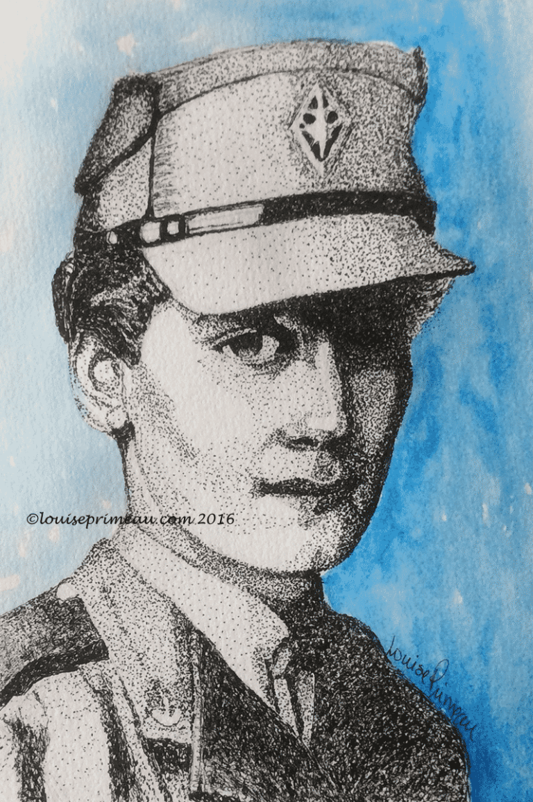 pointillism art in portrait for Remembrance Day