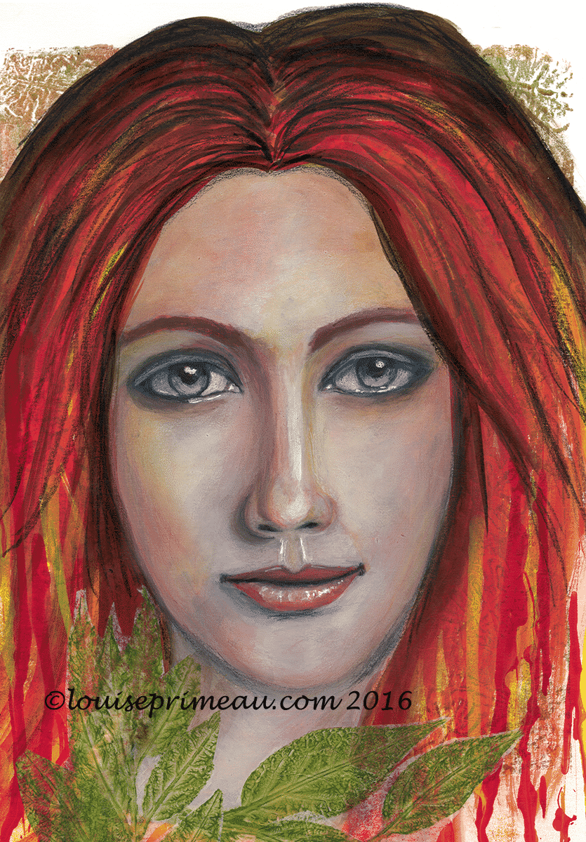 """""""She speaks without voice"""" a mixed media portrait"""