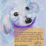 dog sketch with message to Santa