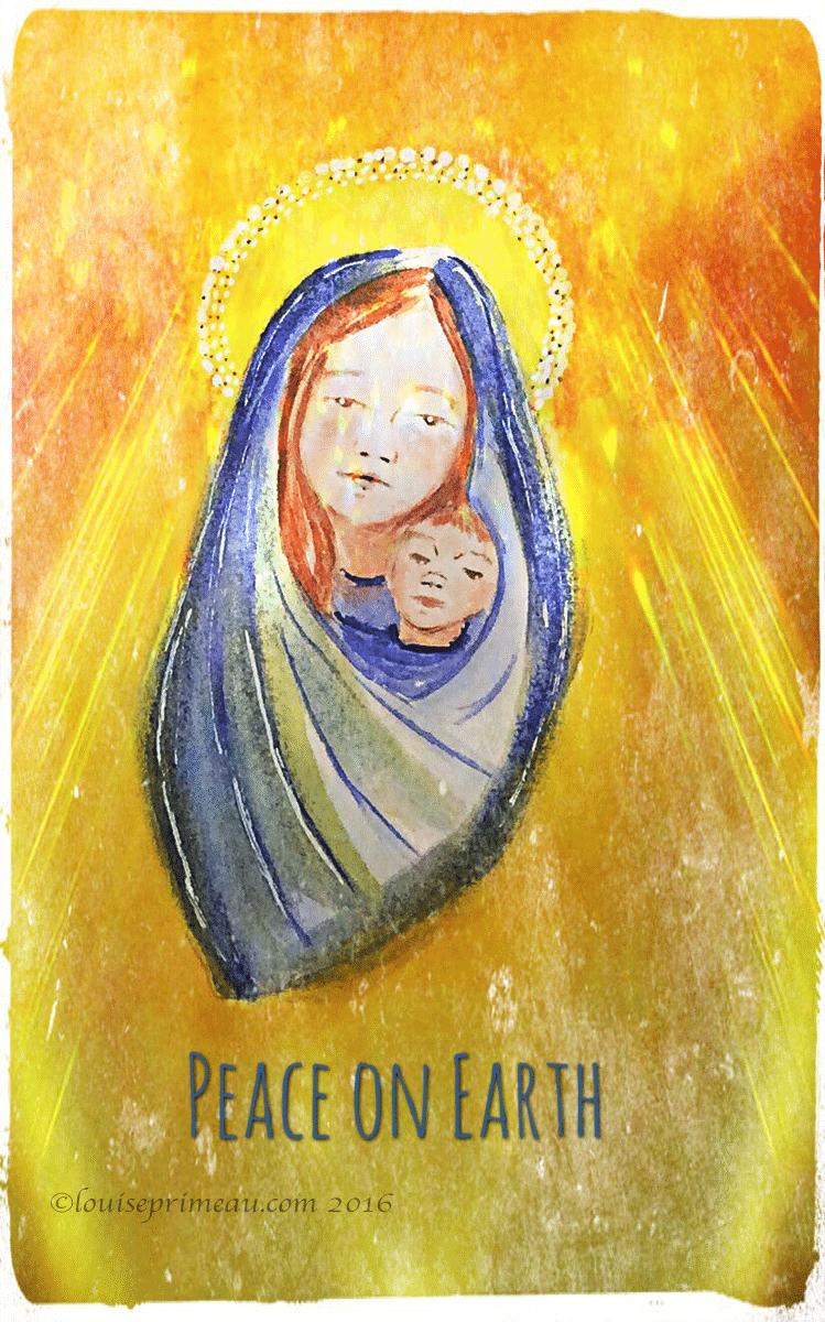 peace one earth - digitally enhanced watercolour