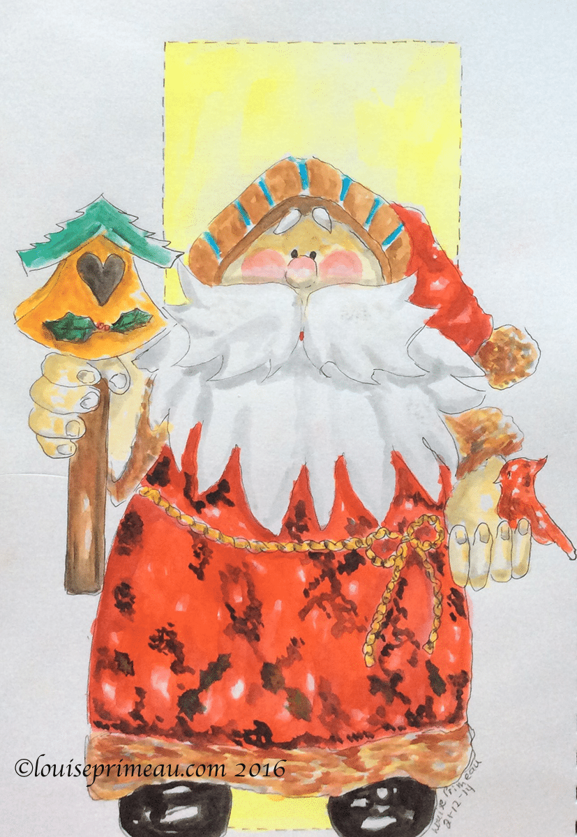 watercolour Santa