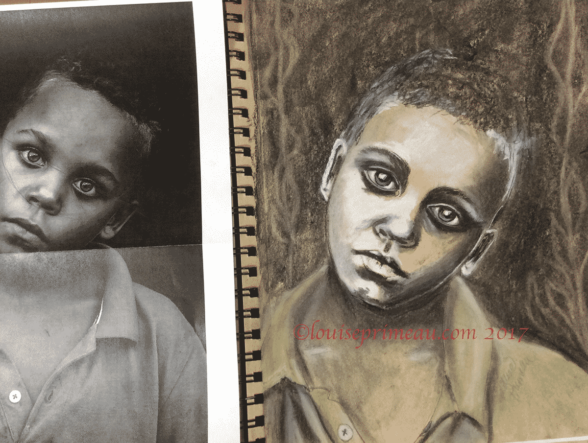 mixed media portrait of young boy