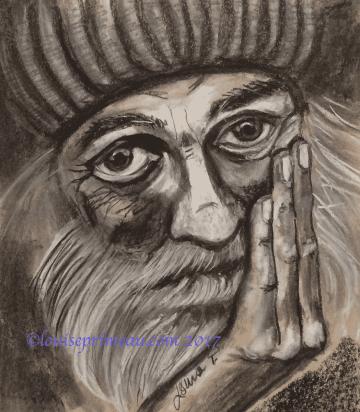 charcoal portrait of homeless man