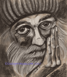 charcoal portrait of homeless man