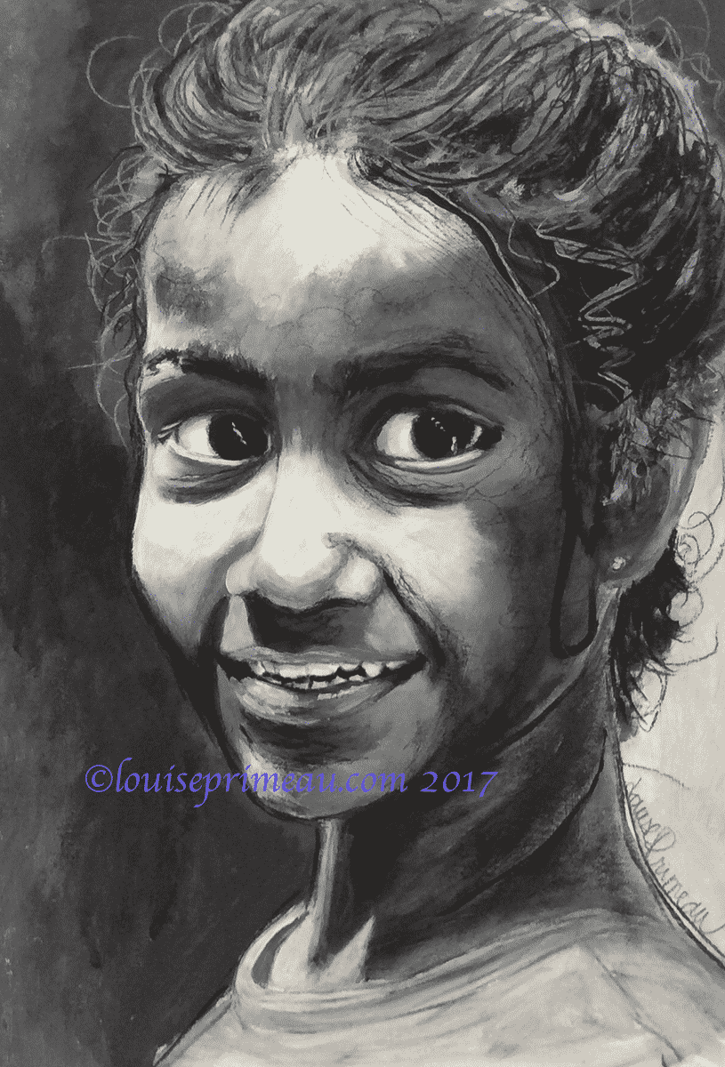 A study in values: charcoal, acrylic, gesso, and pencil used to paint a slum girl
