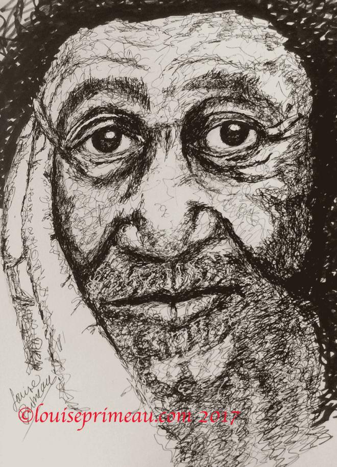 scribble art portrait of elderly man