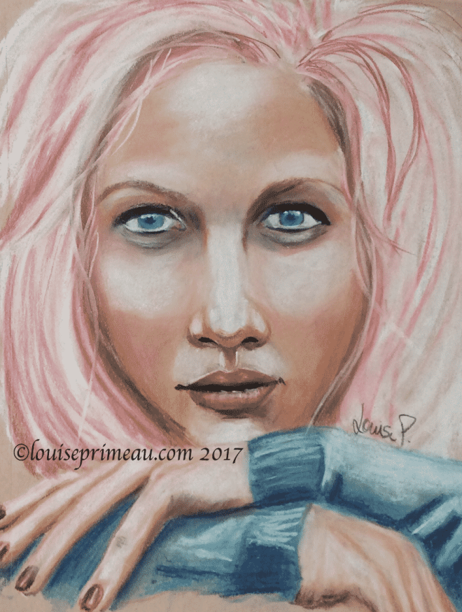 pastel portrait of pink haired woman