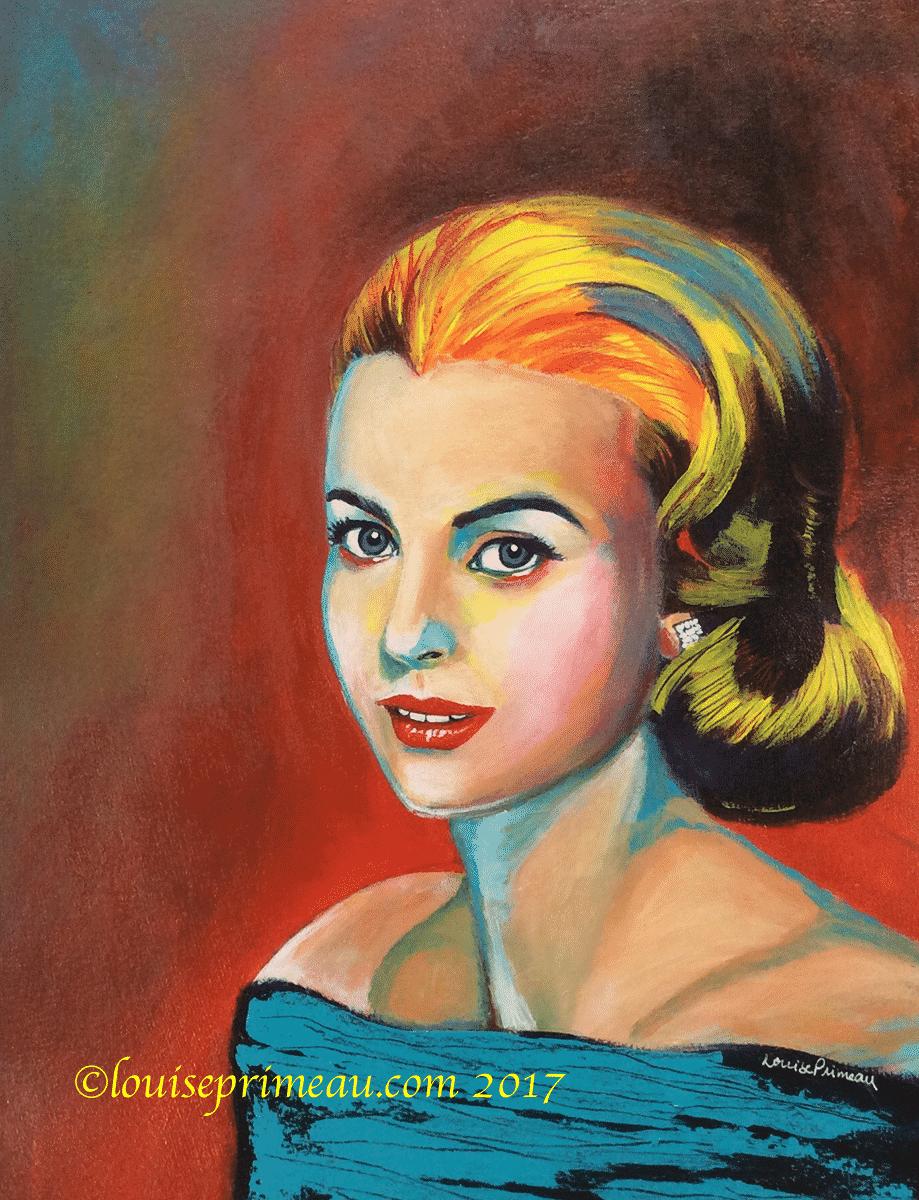 acrylic portrait of Grace Kelly