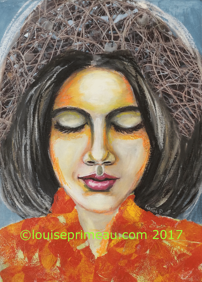 Nests in her hair - mixed media portrait