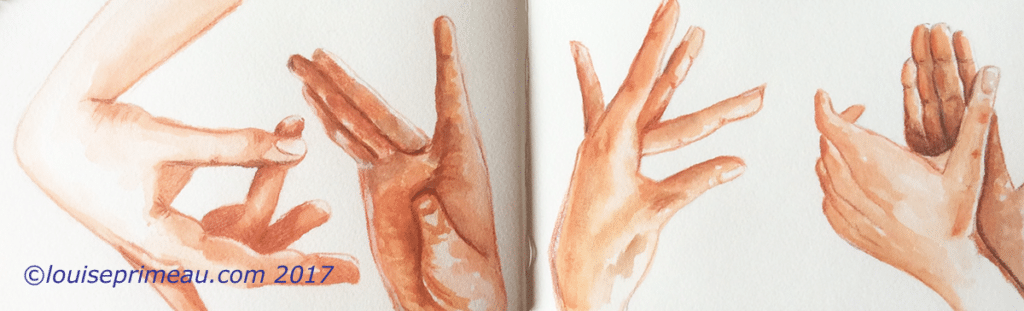 Sensuous hands of the flamenco watercolour sketch