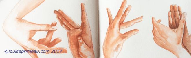 Sensuous hands of the flamenco watercolour sketch