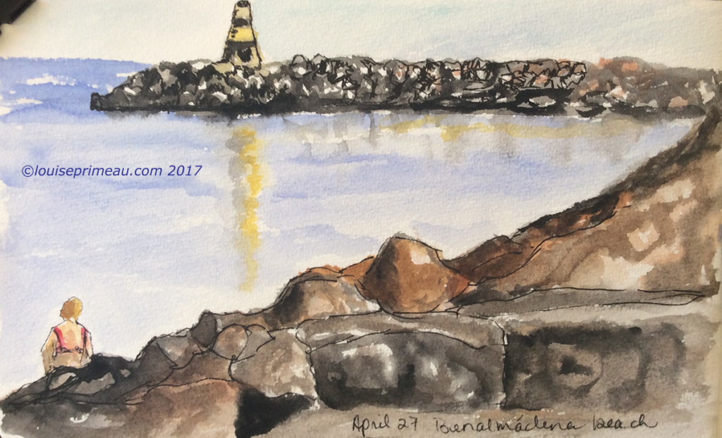 travel journal sketch - The lighthouse at Benalmádena