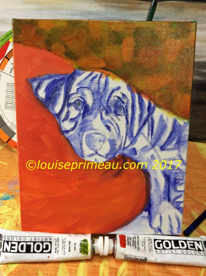 How I paint a puppy on canvas. Progress shots