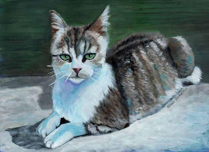 Miss Daisy acrylic Cat Portrait
