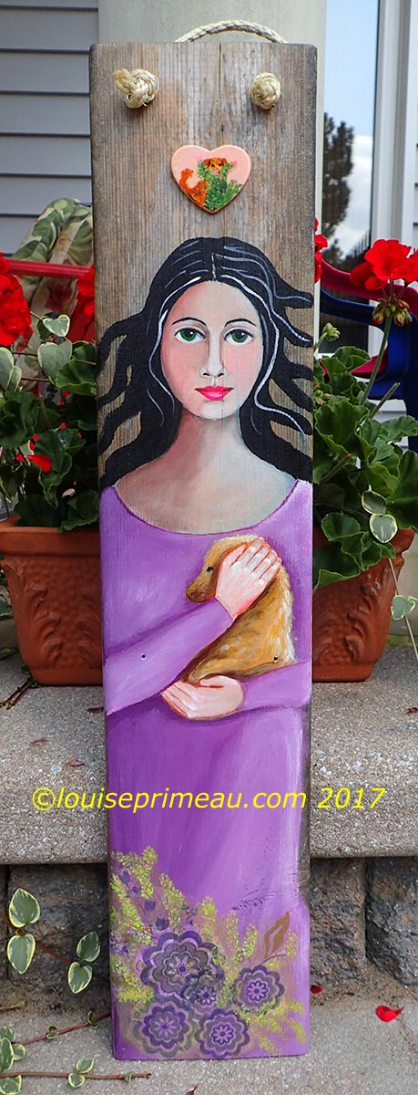 """""""in her protective arms"""" art on reclaimed wood"""