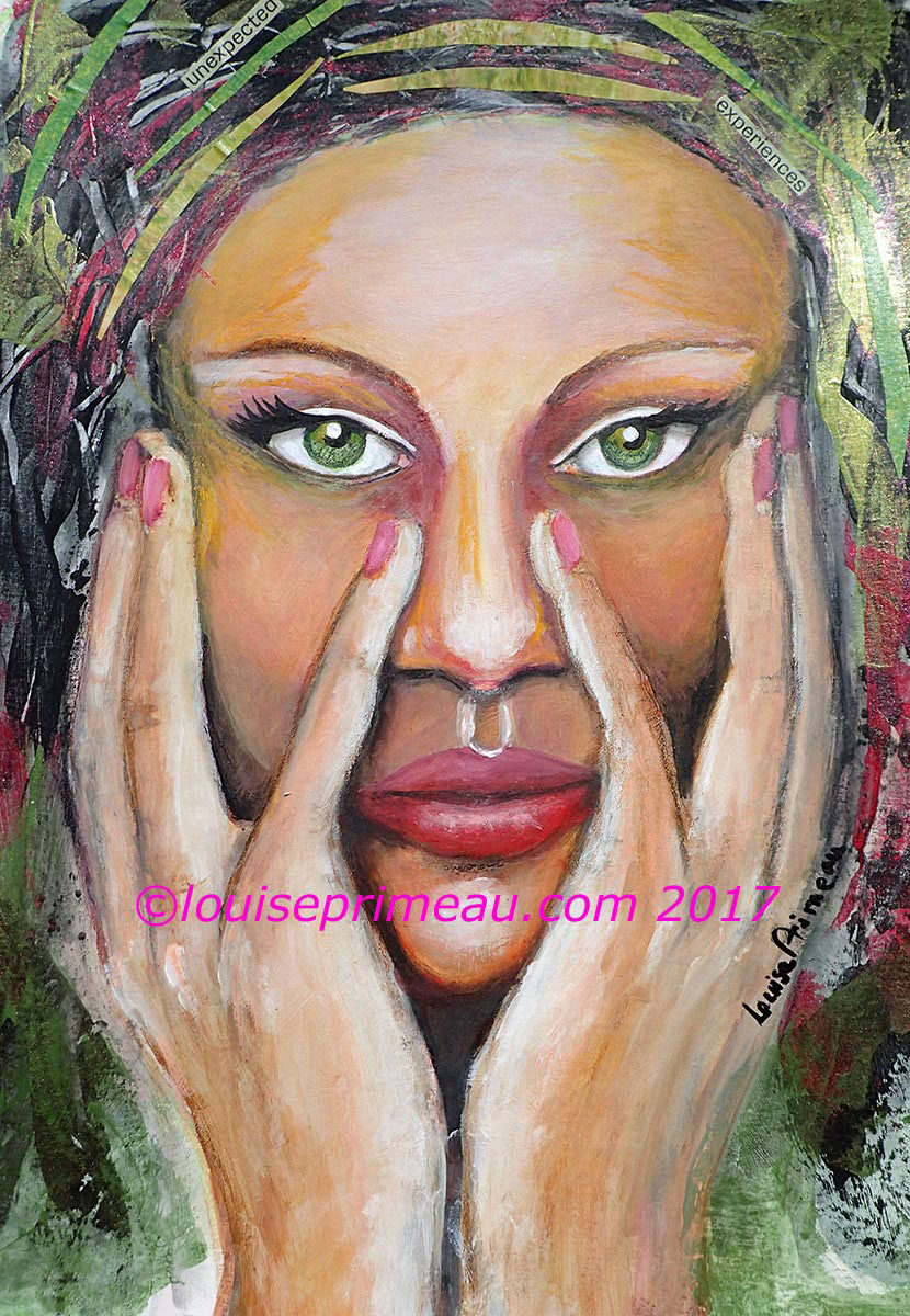 """""""Unexpected experiences"""" mixed media portrait in Strathmore Visual journal"""