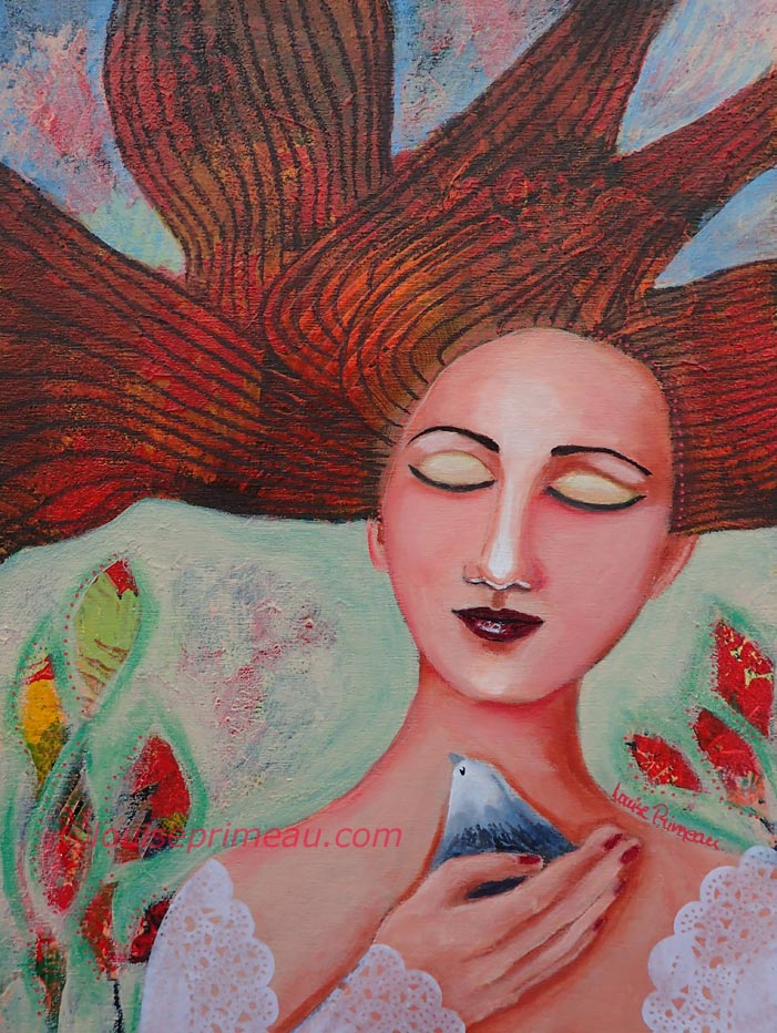 """""""A Bird in Hand"""", mixed media on 9x12 wood cradle. The sides are painted bright red."""