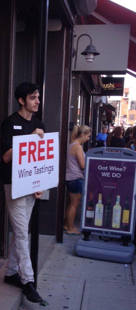 wine tasting in market area