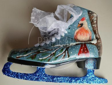 Cardinal on painted skates by Louise's ARTiculations