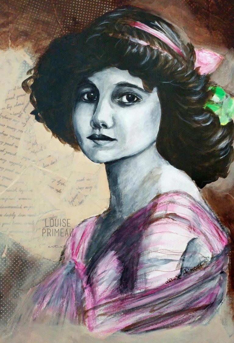 vintage postcard girl portrait