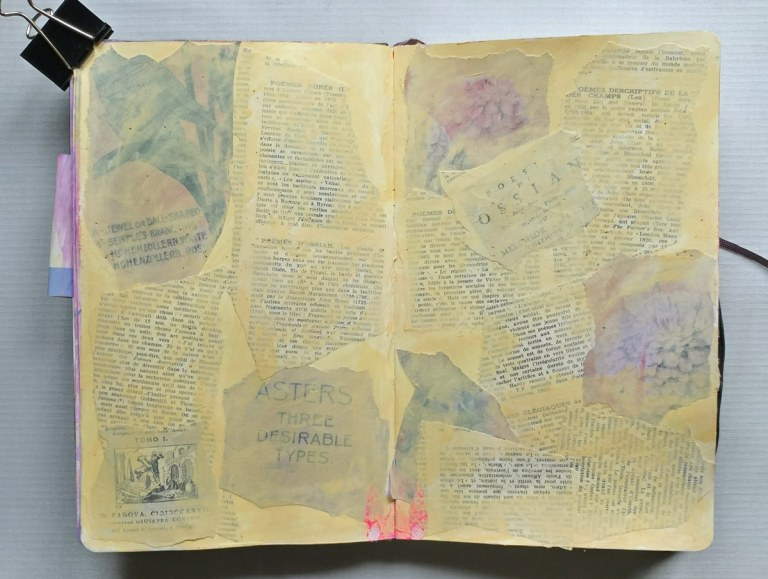 Collage background in journal