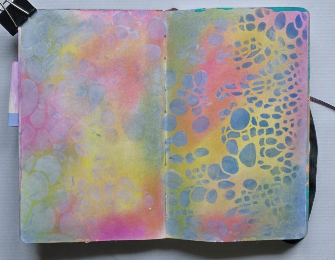 pan pastels and stencils background
