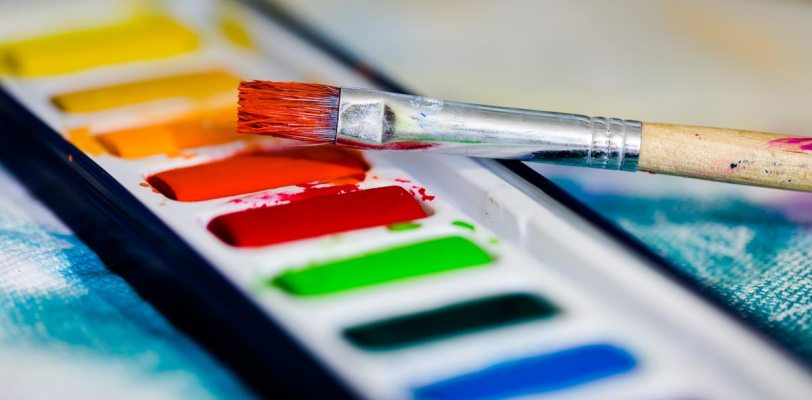 watercolours in a row
