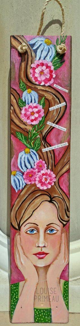 Flower Fairy on reclaimed wood