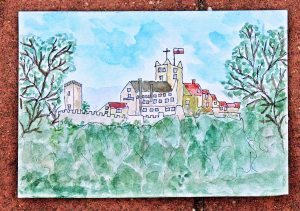 watercolour sketch of Wartburg