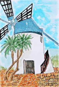 watercolour sketch of windmill