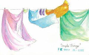 watercolour clothesline