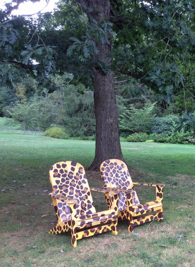 Inviting spottedchairs at Chanticleer