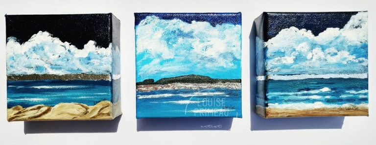 series of three mini canvases of Ominous Sky series