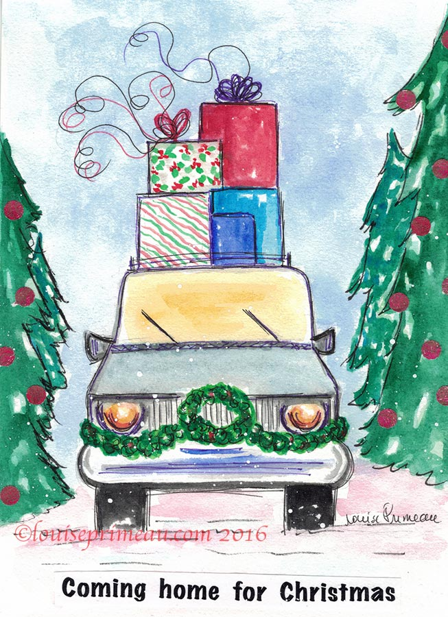sketch of car decorated for Christmas