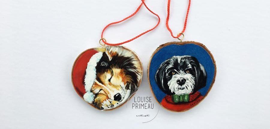 Cody and Jake -custom pet portrait on wood slice by Louise's ARTiculations, Ottawa pet portrait artist.
