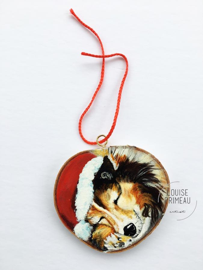 Cody -custom pet portrait on wood slice by Louise's ARTiculations, Ottawa pet portrait artist.